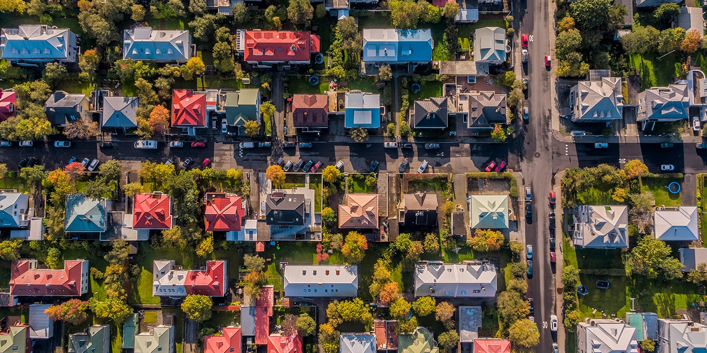 A group of houses from above