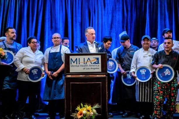 Group of chefs receiving plaques at MHALA gala