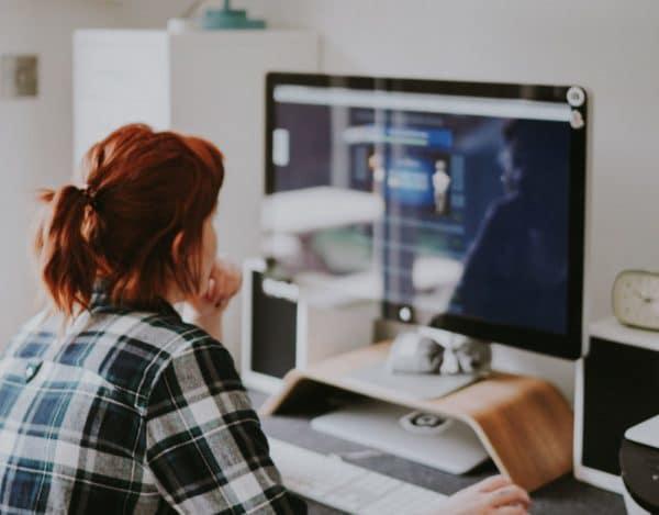 Woman working on desktop