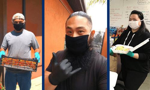 three people wearing face masks