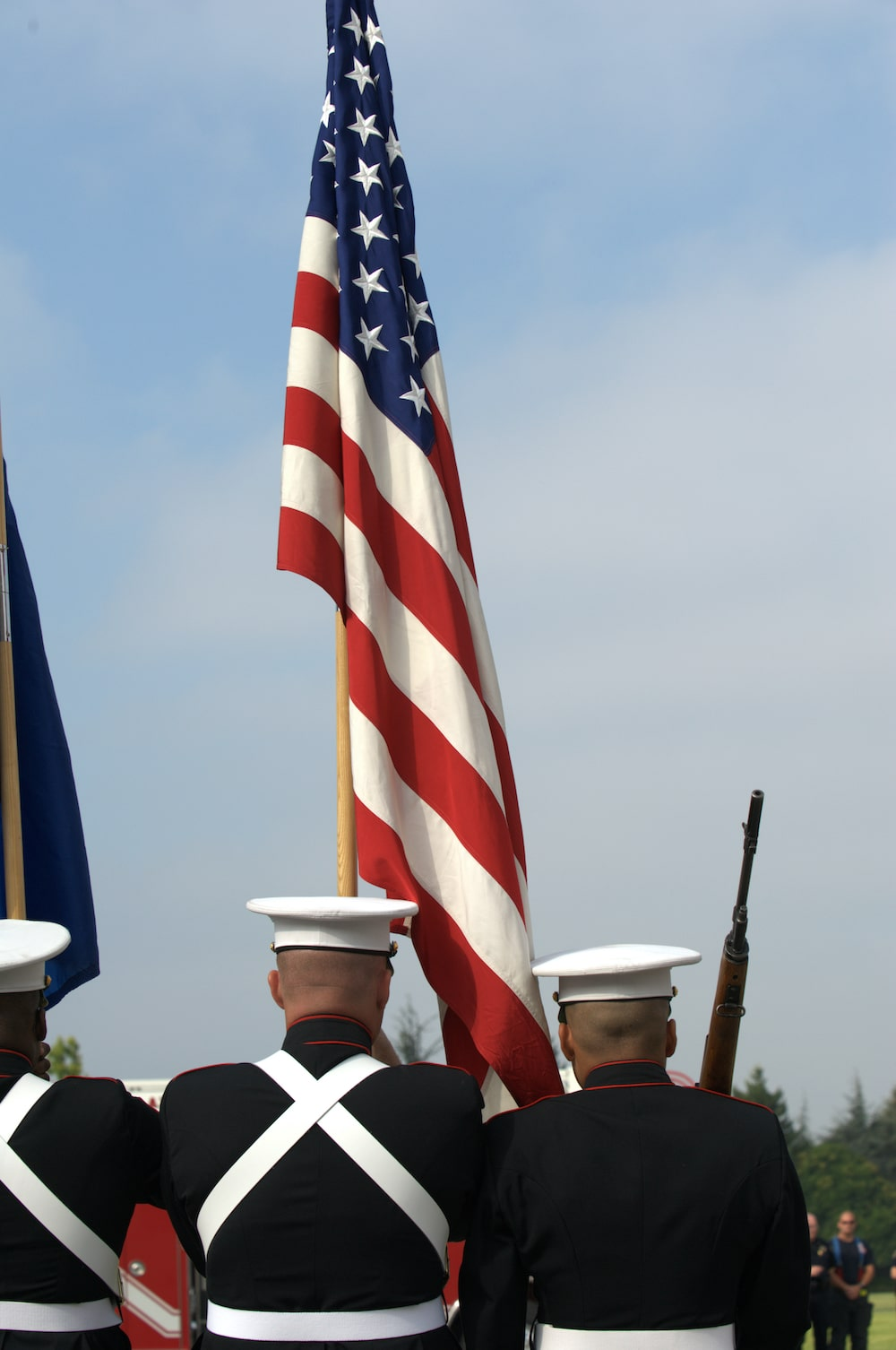 US military raising flag