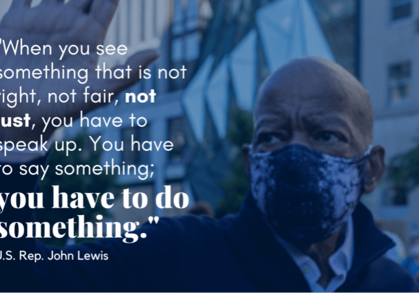 A quote from John Lewis with his image in the background